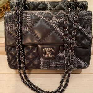 Chanel medium small flap black silver hardware